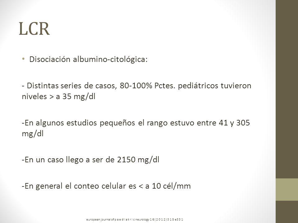 LCR Disociación albumino-citológica: