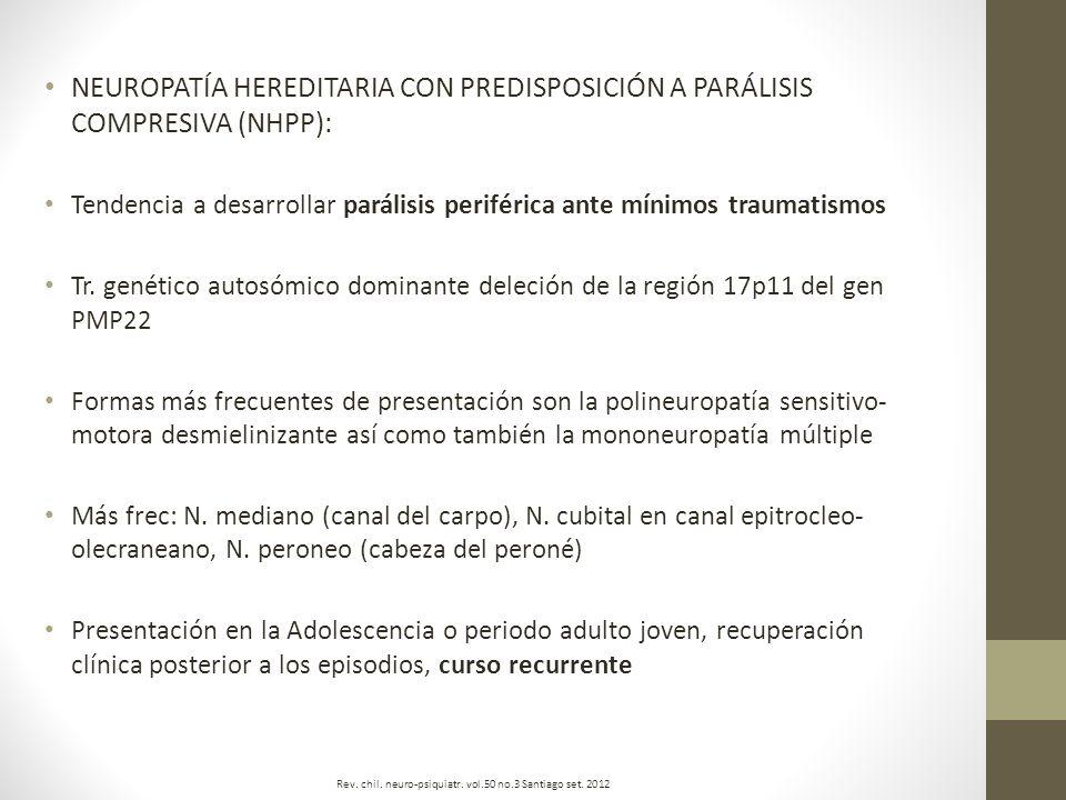 NEUROPATÍA HEREDITARIA CON PREDISPOSICIÓN A PARÁLISIS COMPRESIVA (NHPP):
