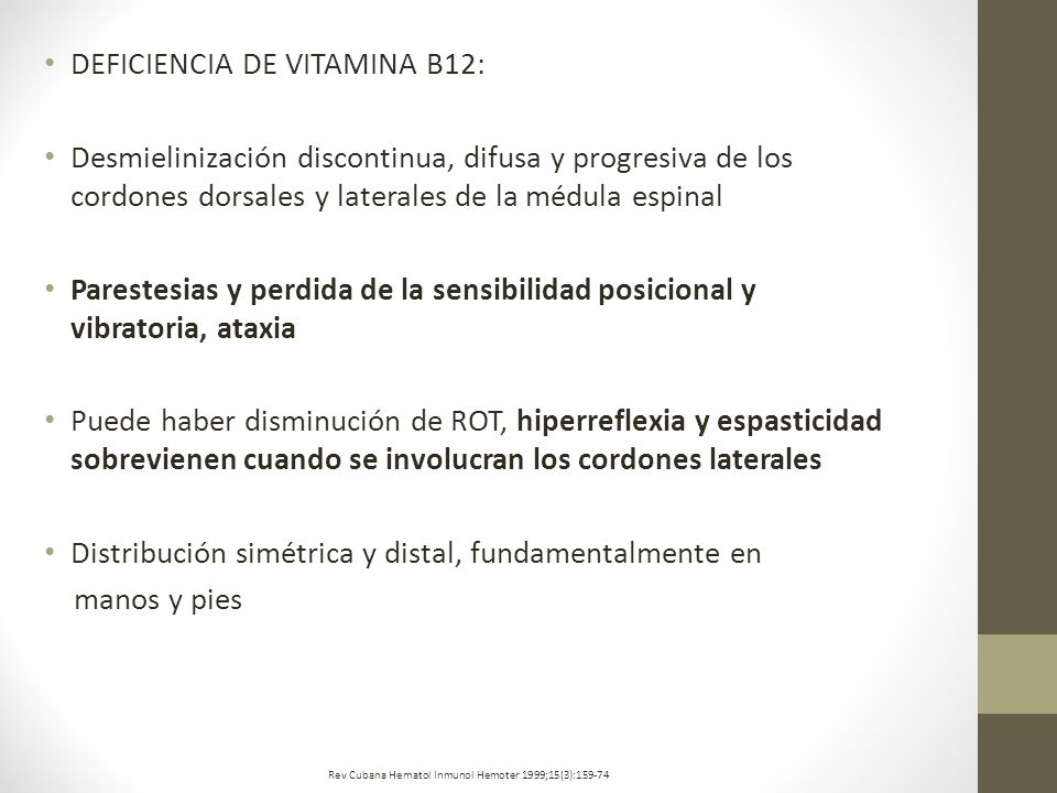 DEFICIENCIA DE VITAMINA B12: