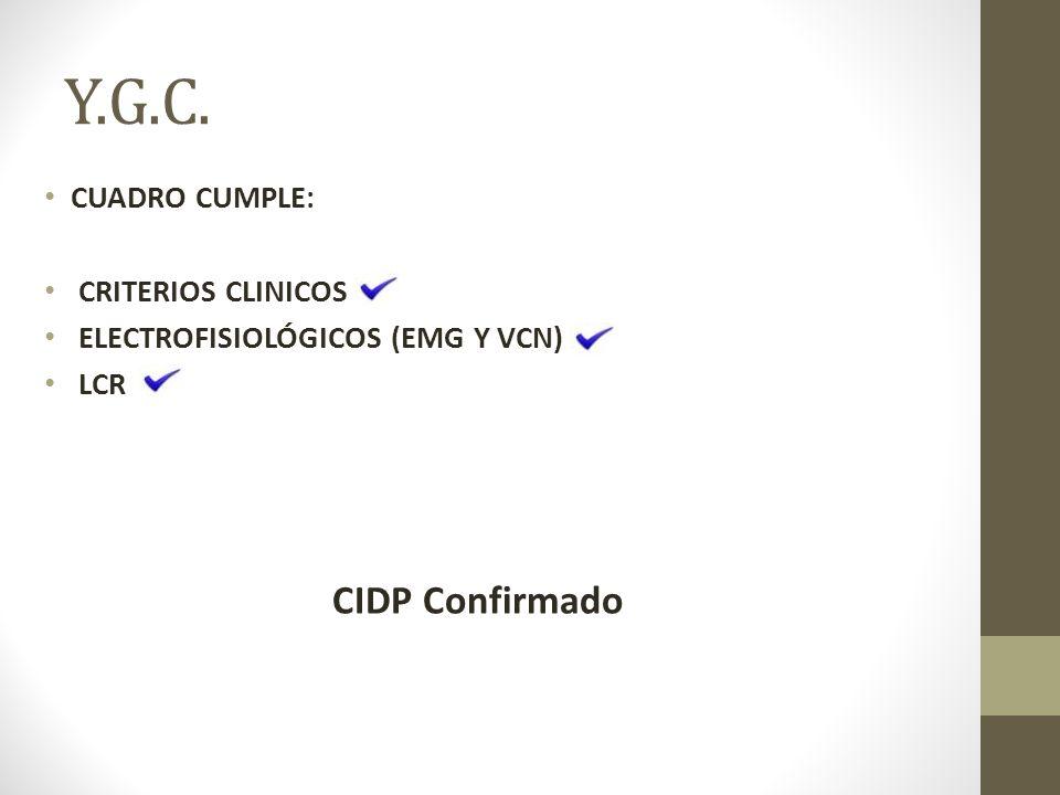 Y.G.C. CIDP Confirmado cuadro cumple: criterios clinicos