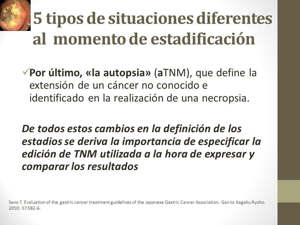 5 tipos de situaciones diferentes al momento de estadificación