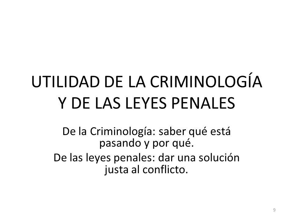UTILIDAD DE LA CRIMINOLOGÍA Y DE LAS LEYES PENALES
