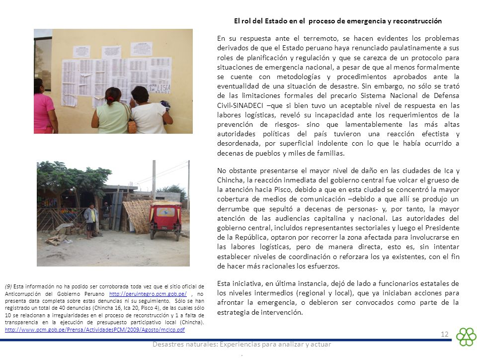 El rol del Estado en el proceso de emergencia y reconstrucción