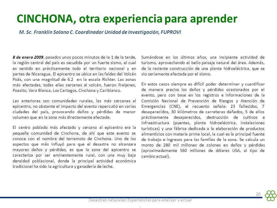 CINCHONA, otra experiencia para aprender