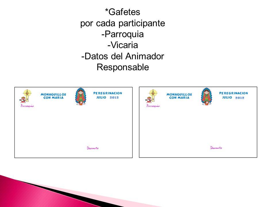 *Gafetes por cada participante -Parroquia -Vicaria -Datos del Animador Responsable
