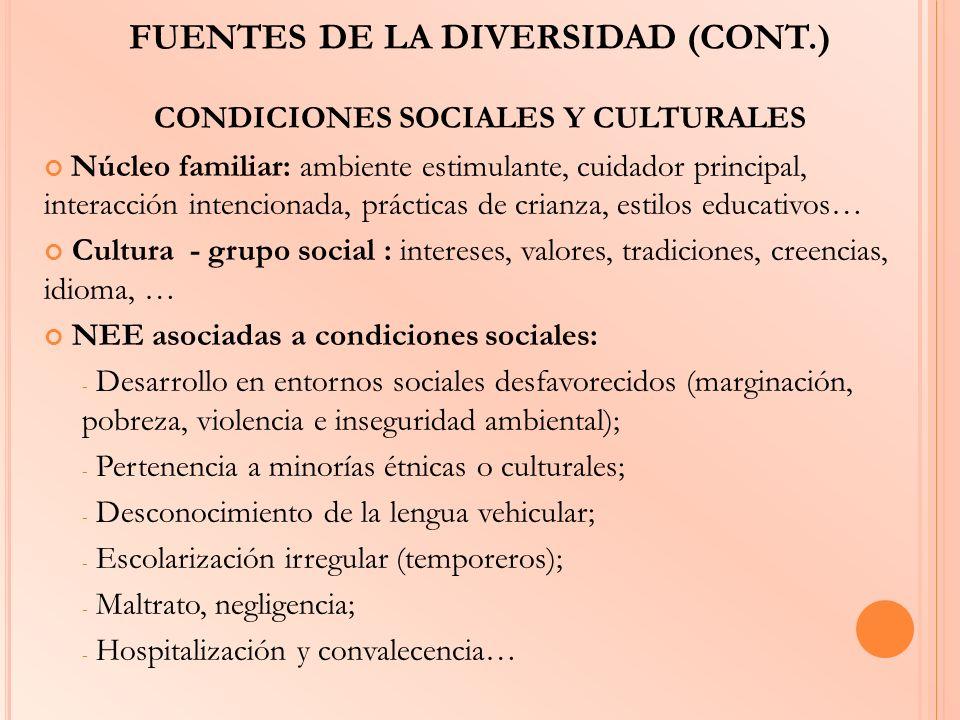 FUENTES DE LA DIVERSIDAD (CONT.) CONDICIONES SOCIALES Y CULTURALES