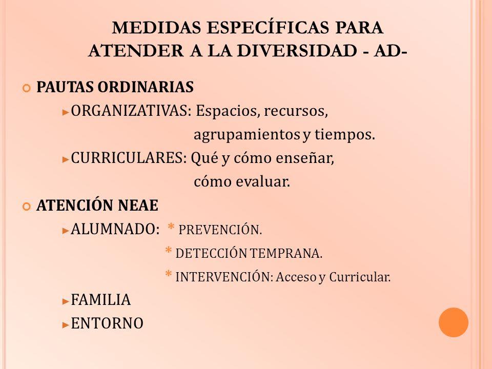MEDIDAS ESPECÍFICAS PARA ATENDER A LA DIVERSIDAD - AD-
