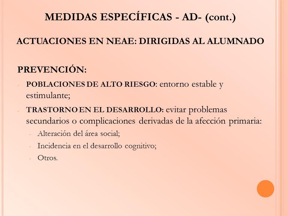 MEDIDAS ESPECÍFICAS - AD- (cont