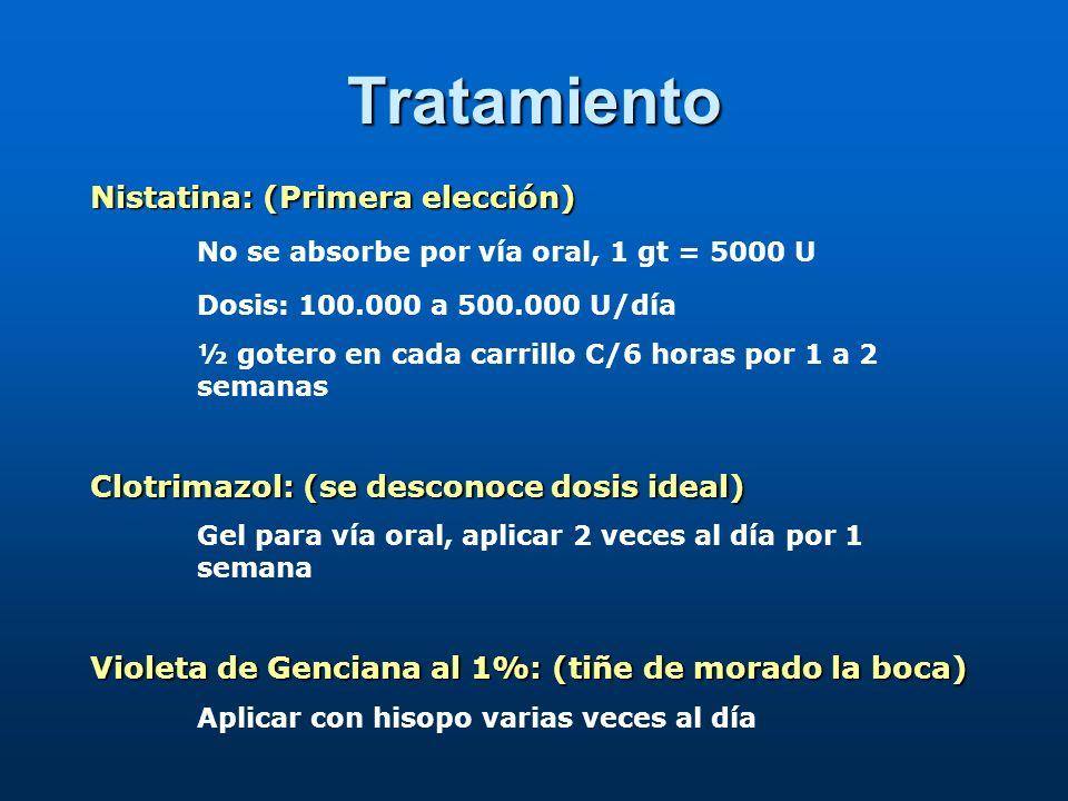 Tratamiento Nistatina: (Primera elección)