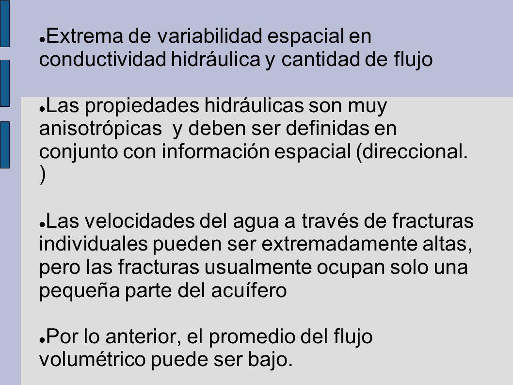 Extrema de variabilidad espacial en conductividad hidráulica y cantidad de flujo