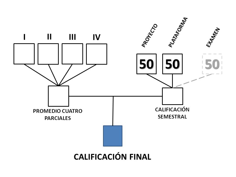 50 50 50 I II III IV CALIFICACIÓN FINAL PLATAFORMA PROYECTO EXAMEN