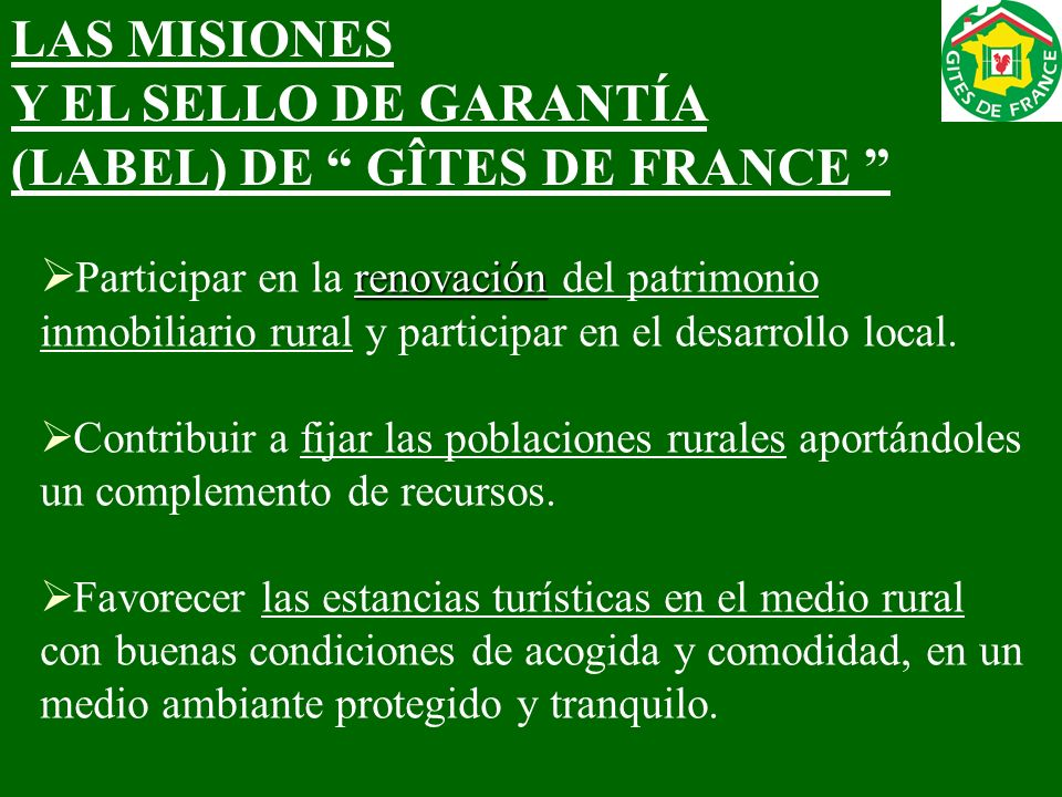 (LABEL) DE GÎTES DE FRANCE
