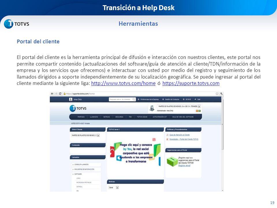 Transición a Help Desk Herramientas Portal del cliente