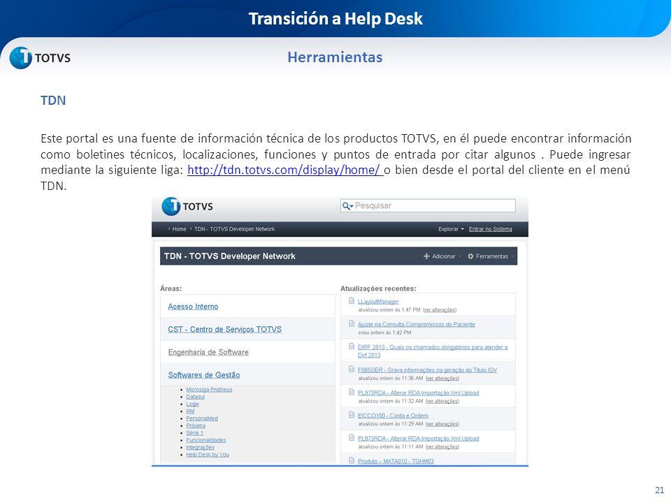 Transición a Help Desk Herramientas TDN