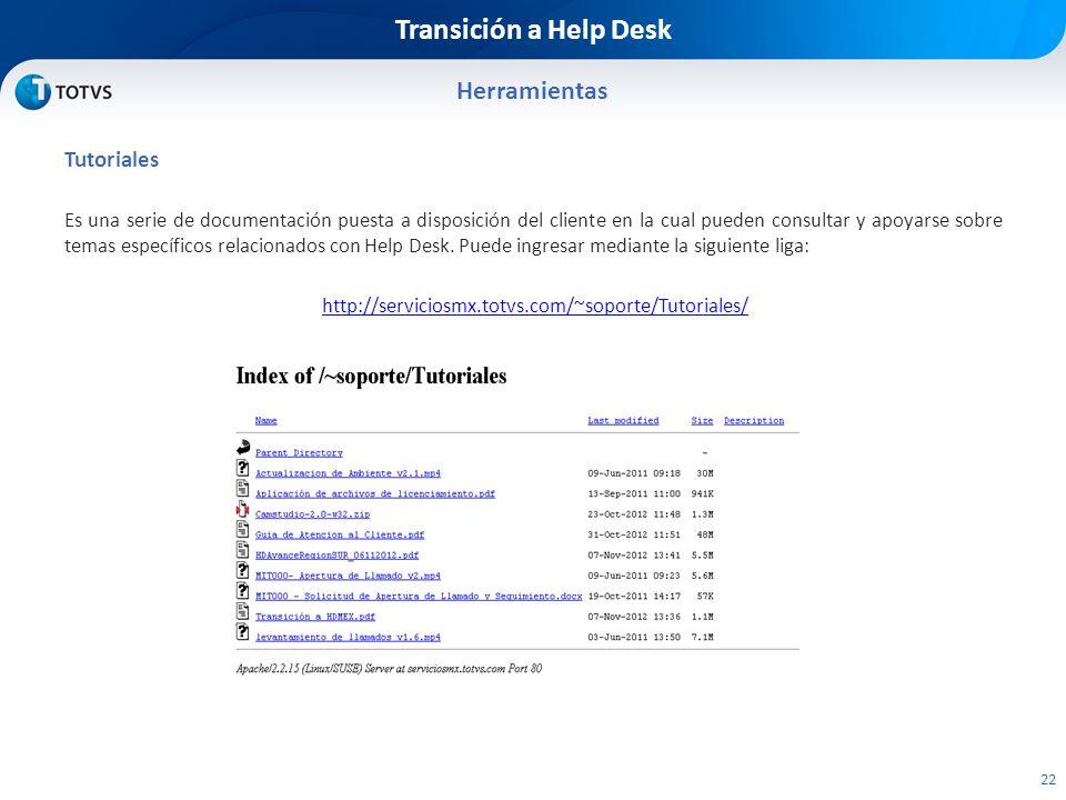 Transición a Help Desk Herramientas Tutoriales