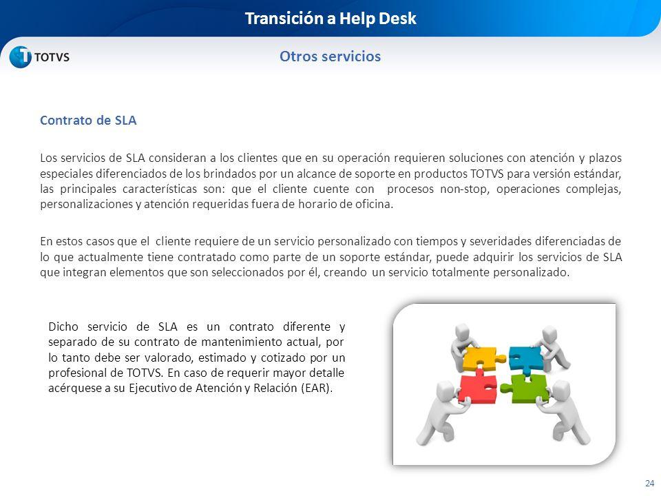 Transición a Help Desk Otros servicios Contrato de SLA