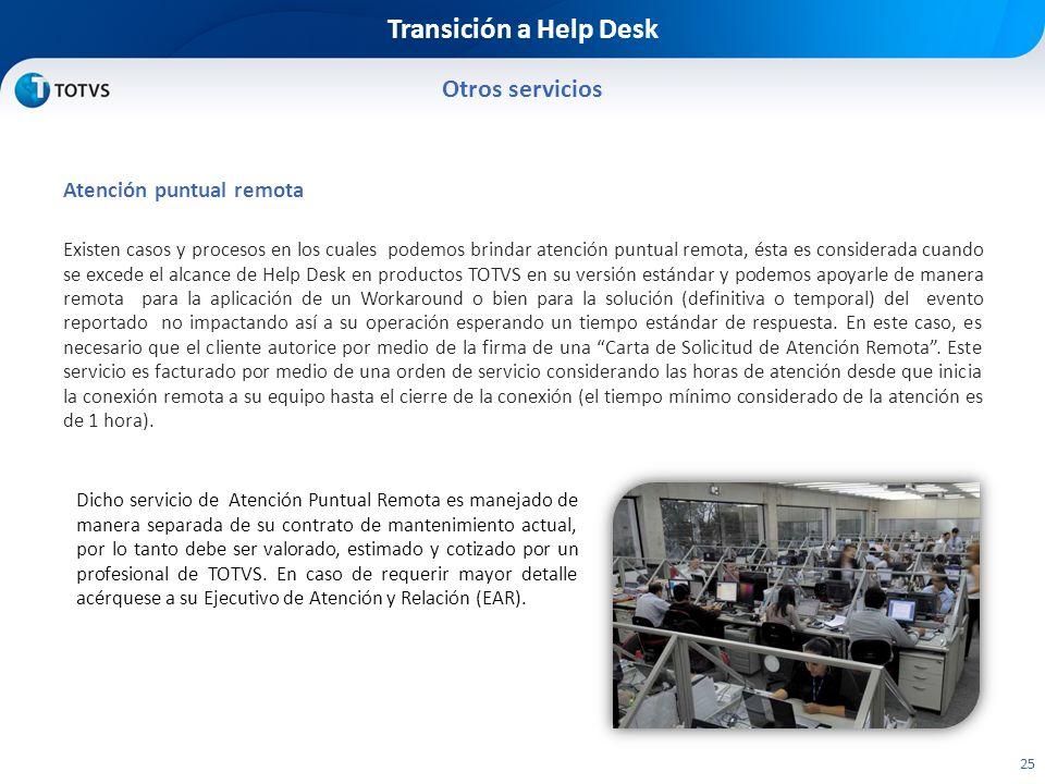 Transición a Help Desk Otros servicios Atención puntual remota