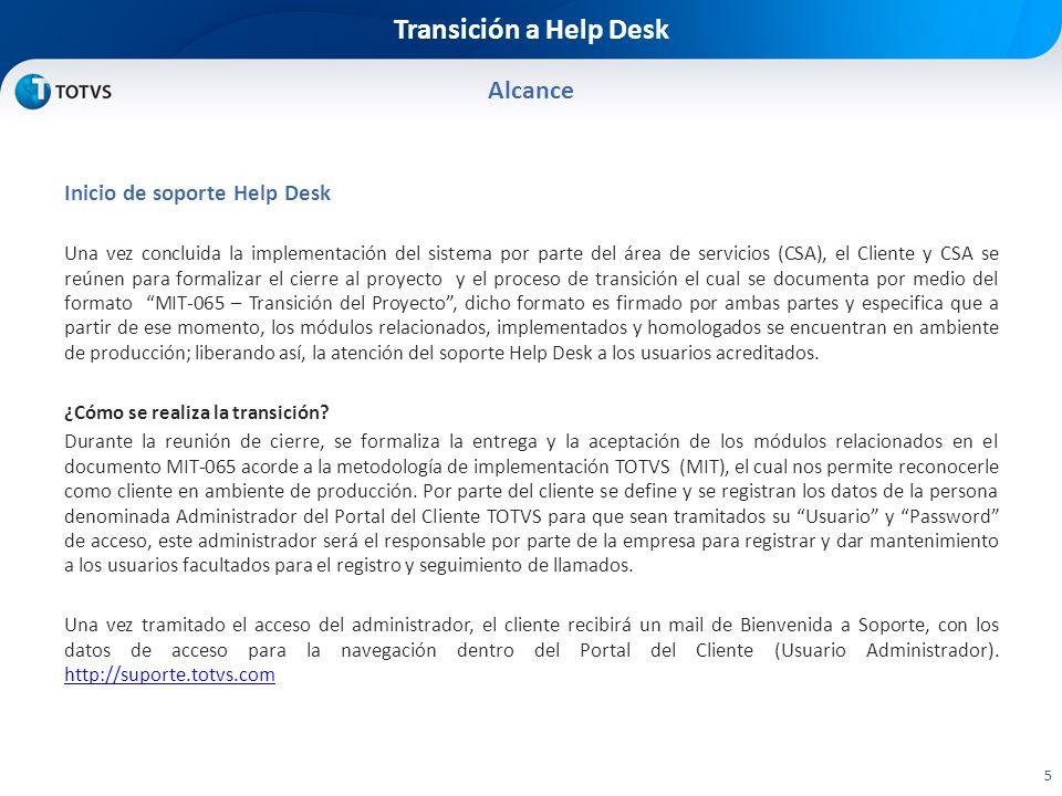 Transición a Help Desk Alcance Inicio de soporte Help Desk