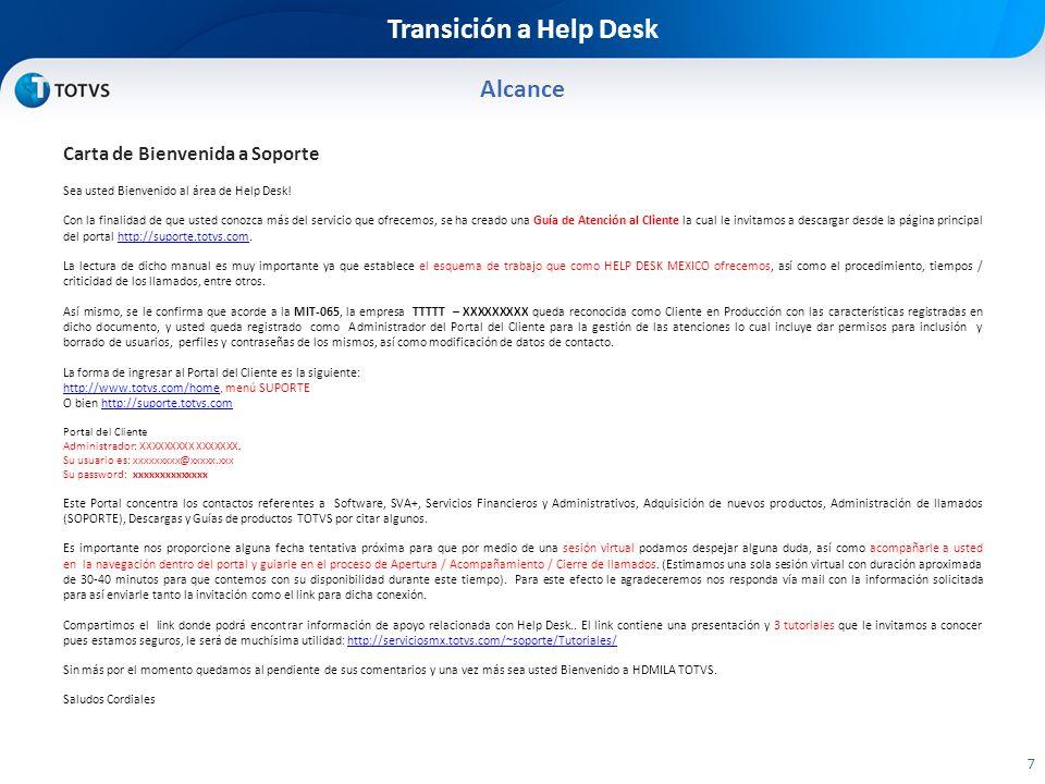 Transición a Help Desk Alcance Carta de Bienvenida a Soporte