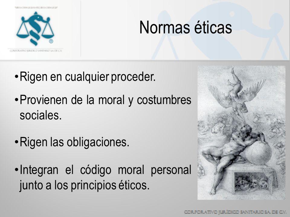 Normas éticas Rigen en cualquier proceder.