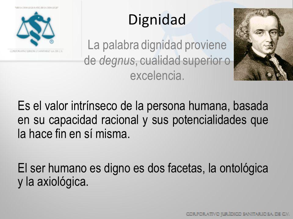 Dignidad La palabra dignidad proviene de degnus, cualidad superior o excelencia.