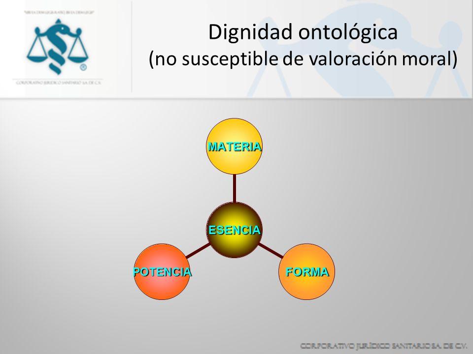 Dignidad ontológica (no susceptible de valoración moral)