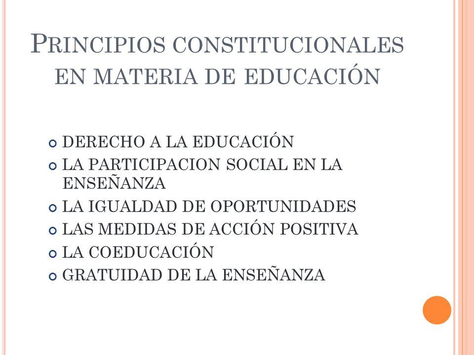 Principios constitucionales en materia de educación