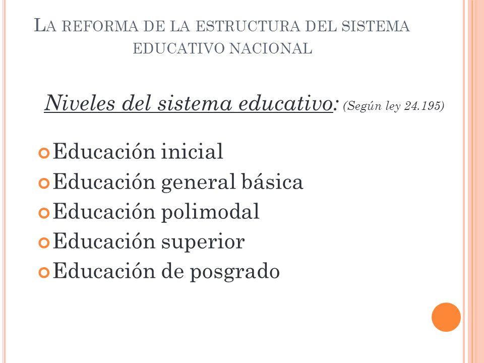 La reforma de la estructura del sistema educativo nacional