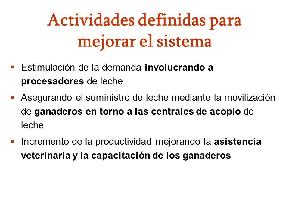 Actividades definidas para mejorar el sistema