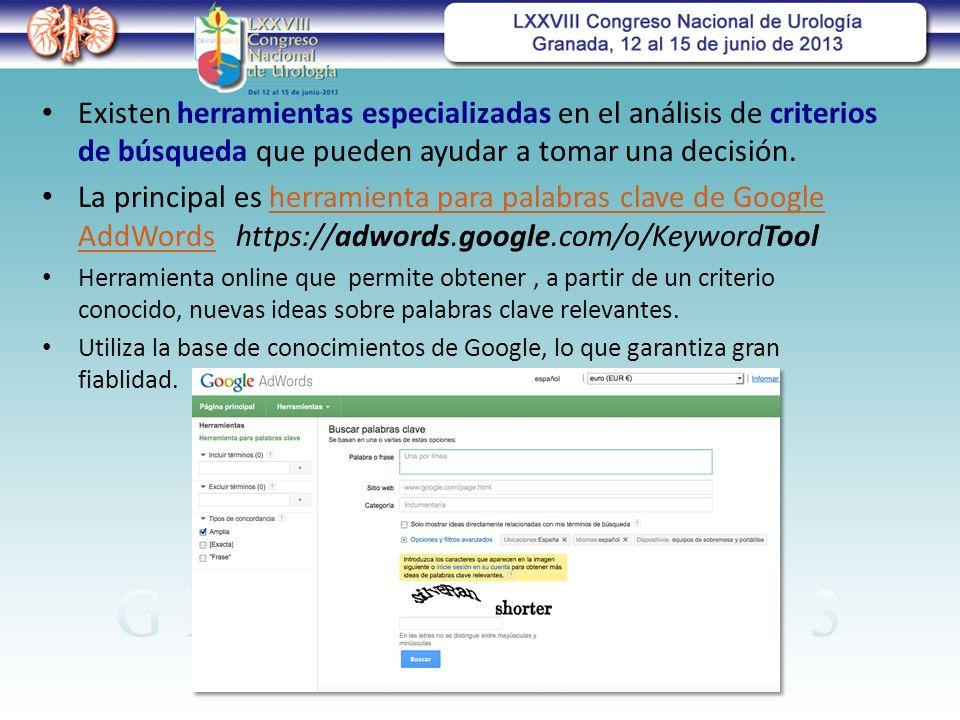 Existen herramientas especializadas en el análisis de criterios de búsqueda que pueden ayudar a tomar una decisión.