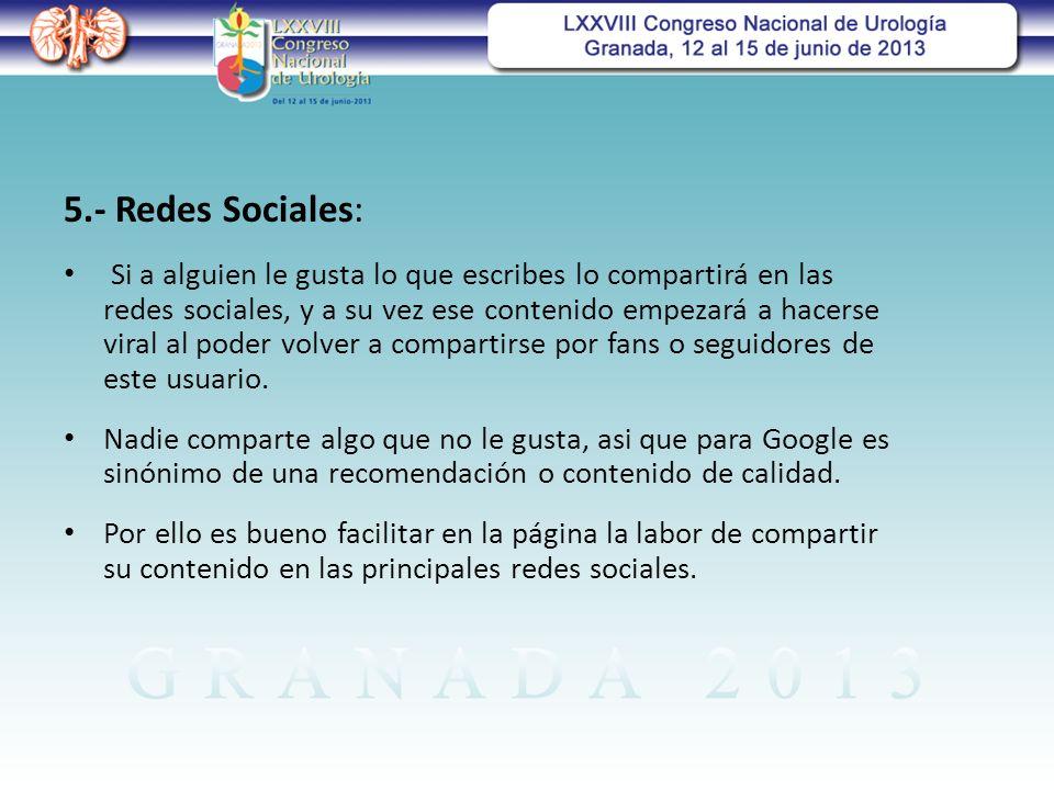 5.- Redes Sociales: