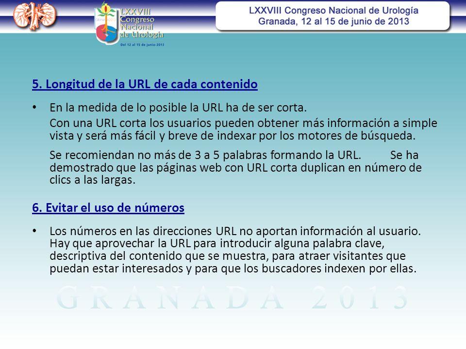 5. Longitud de la URL de cada contenido