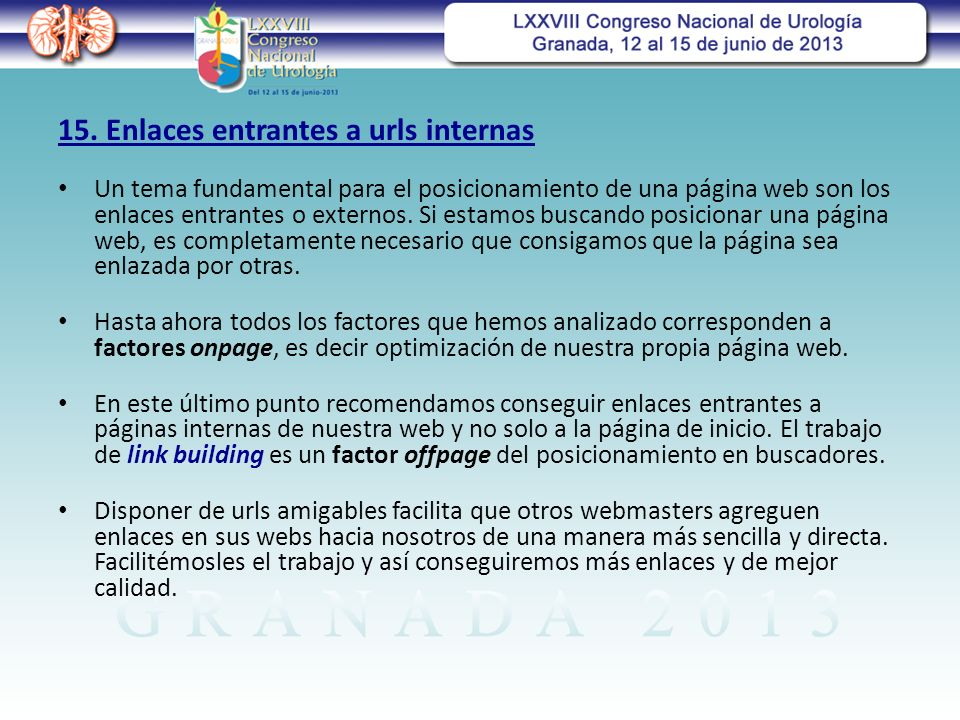 15. Enlaces entrantes a urls internas
