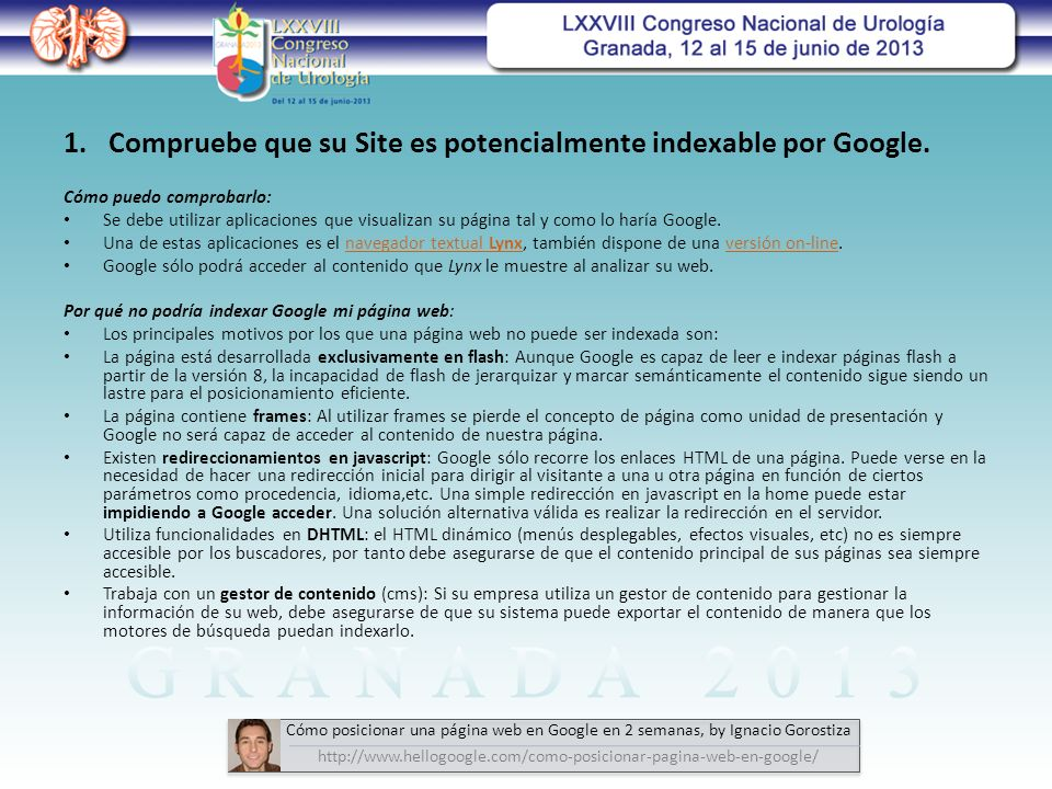 1. Compruebe que su Site es potencialmente indexable por Google.