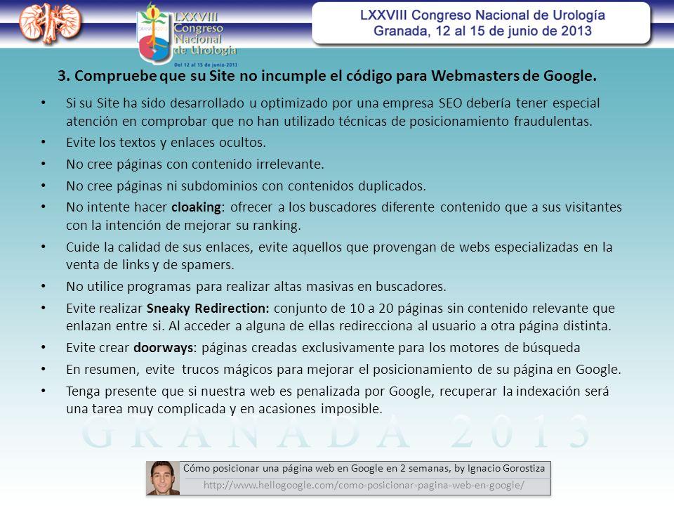 3. Compruebe que su Site no incumple el código para Webmasters de Google.