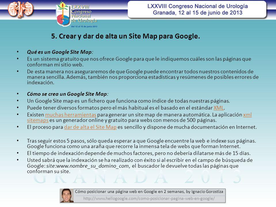 5. Crear y dar de alta un Site Map para Google.
