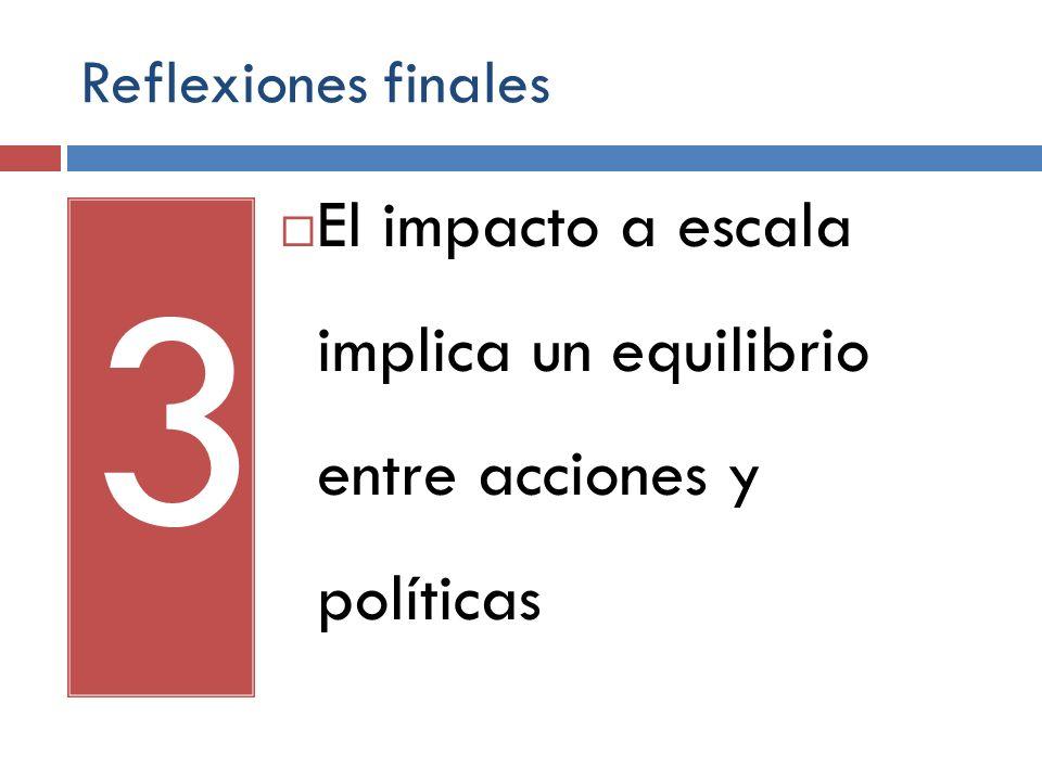 3 El impacto a escala implica un equilibrio entre acciones y políticas