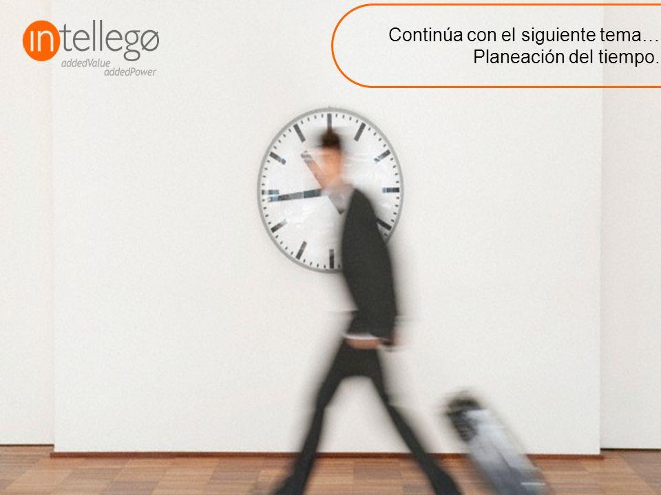 Continúa con el siguiente tema… Planeación del tiempo.