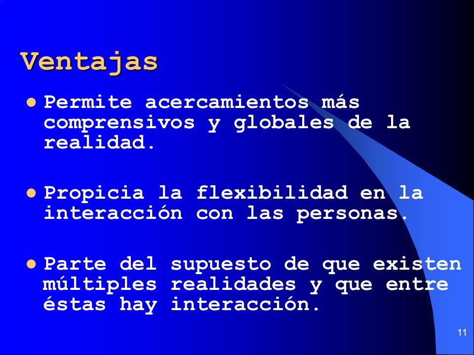 VentajasPermite acercamientos más comprensivos y globales de la realidad. Propicia la flexibilidad en la interacción con las personas.