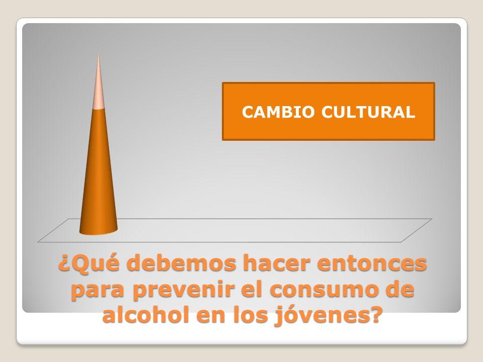 CAMBIO CULTURAL ¿Qué debemos hacer entonces para prevenir el consumo de alcohol en los jóvenes