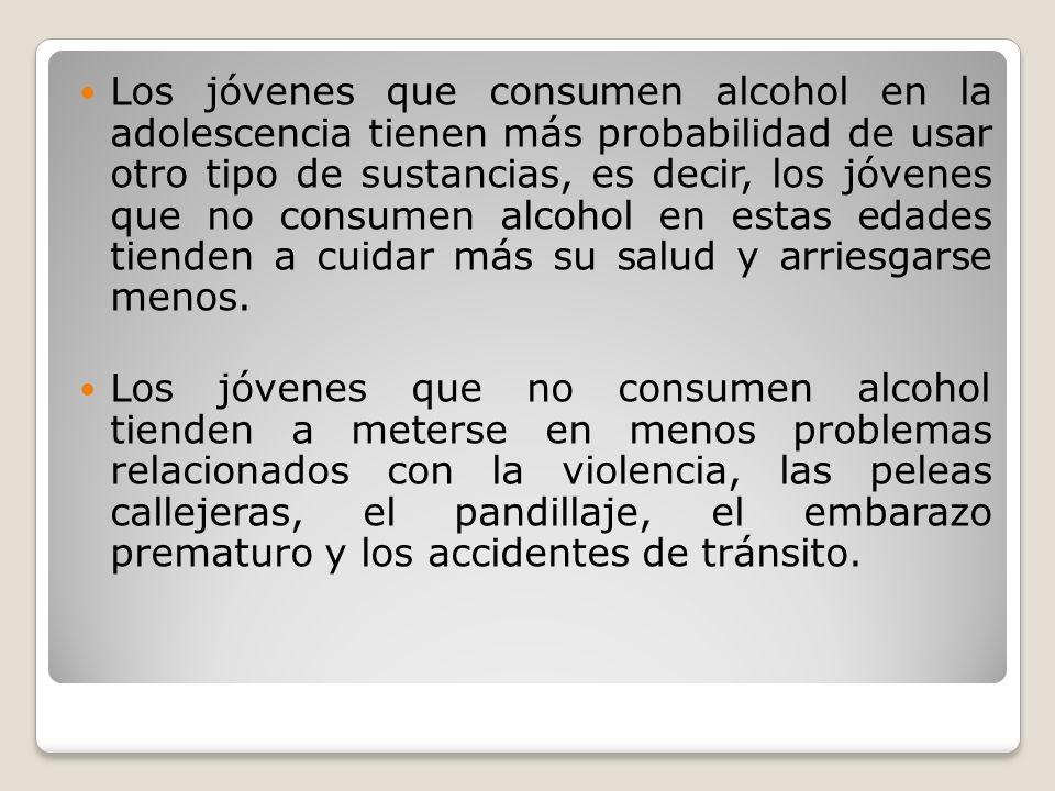 Los jóvenes que consumen alcohol en la adolescencia tienen más probabilidad de usar otro tipo de sustancias, es decir, los jóvenes que no consumen alcohol en estas edades tienden a cuidar más su salud y arriesgarse menos.
