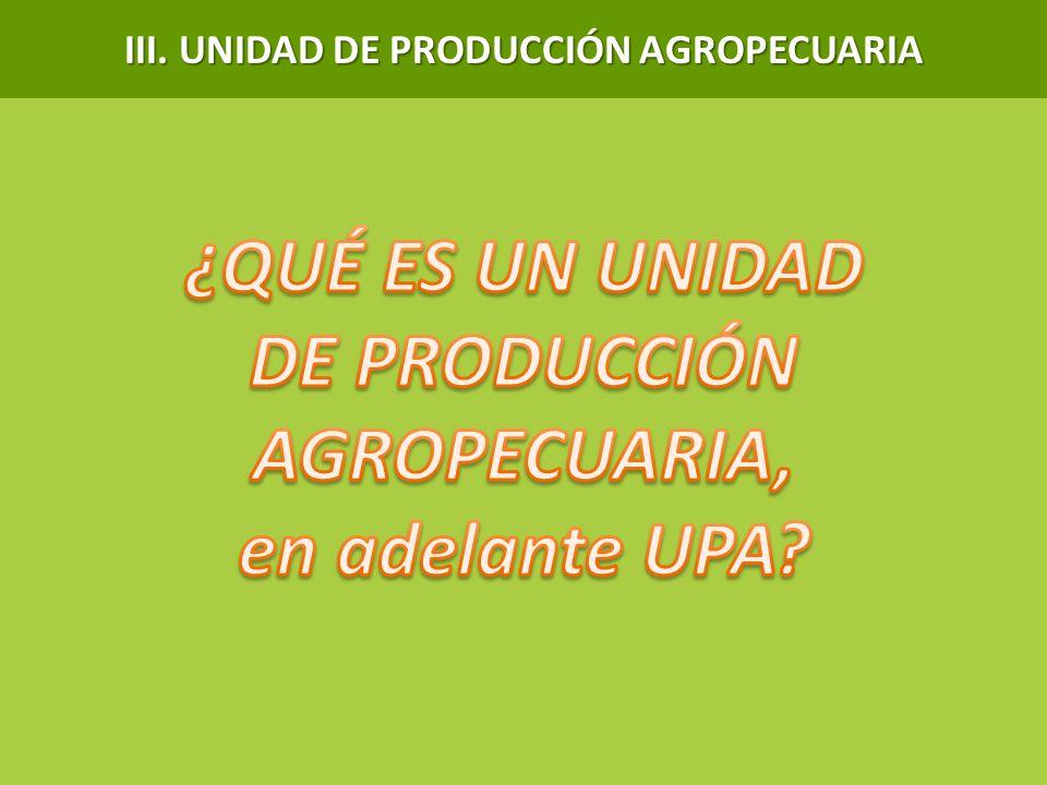 III. UNIDAD DE PRODUCCIÓN AGROPECUARIA DE PRODUCCIÓN AGROPECUARIA,