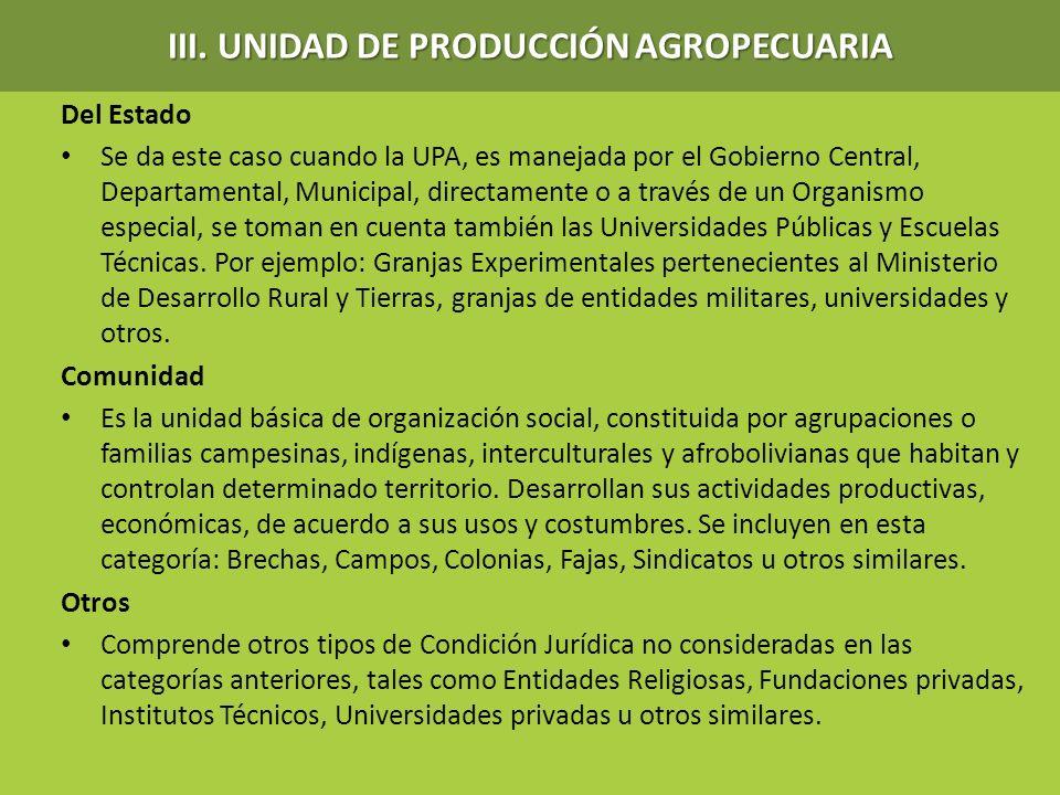 III. UNIDAD DE PRODUCCIÓN AGROPECUARIA