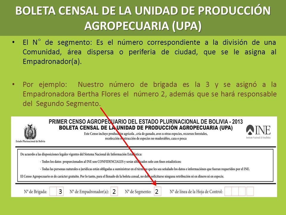 BOLETA CENSAL DE LA UNIDAD DE PRODUCCIÓN AGROPECUARIA (UPA)