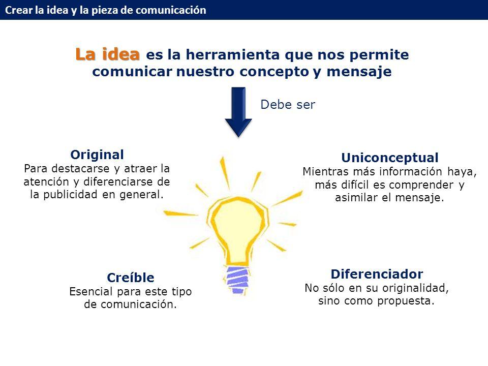 Crear la idea y la pieza de comunicación