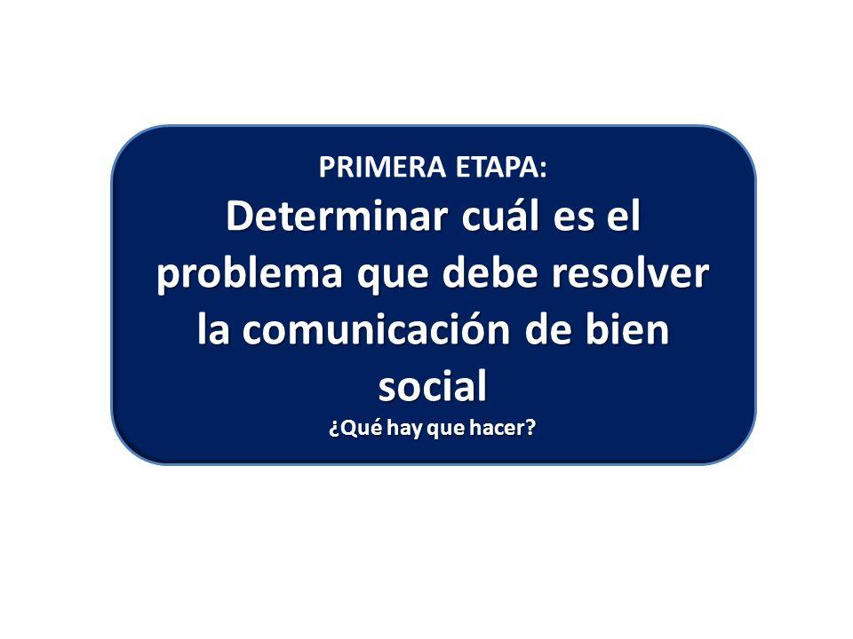 PRIMERA ETAPA: Determinar cuál es el problema que debe resolver la comunicación de bien social
