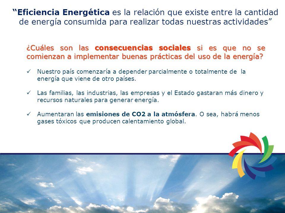 Eficiencia Energética es la relación que existe entre la cantidad de energía consumida para realizar todas nuestras actividades