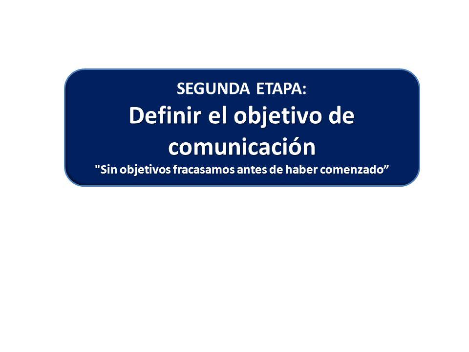 SEGUNDA ETAPA: Definir el objetivo de comunicación