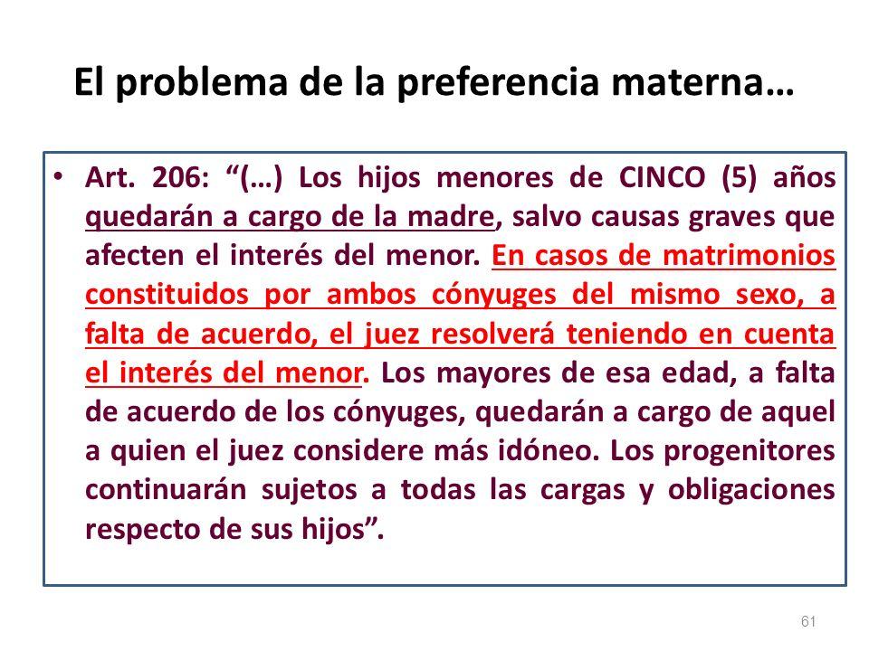 El problema de la preferencia materna…