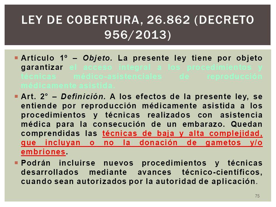 ley de cobertura, 26.862 (Decreto 956/2013)